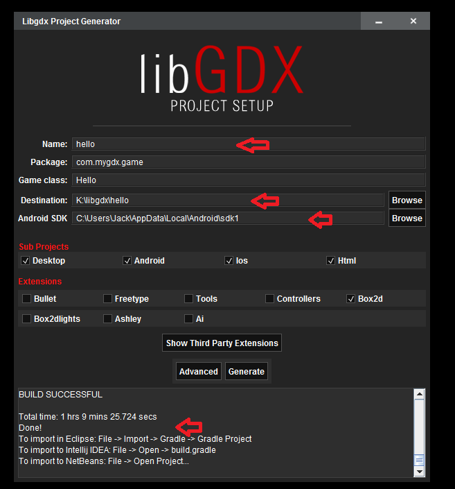 LibGDX create project
